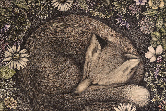 Carol Moore Over in the Meadow, 2015 lithograph and hand-coloring